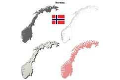 Norway outline map set Product Image 1