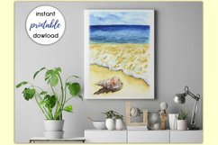 Sublimation Design Watercolor Beach Scene & seashell PNG/JPG Product Image 2