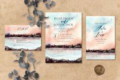 Sunset Lake Watercolor Wedding Invitation Set Product Image 2