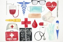 Watercolor Medical Clipart, Doctor Clipart, Health Clipart Product Image 2