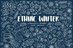 ETHNIC WINTER Folk Ornament Decor Fabric Print Doodle Product Image 1