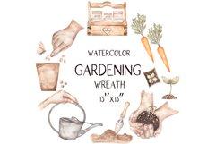 Watercolor Garden Wreath Clipart Product Image 1