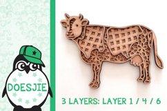 Cow farm animal 3d svg model multi layer mandala layered Product Image 7