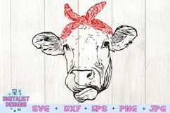 Cow SVG   Cow Clipart   Cow Face SVG   Bandanna Product Image 2