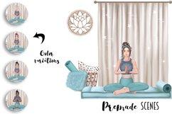 YOGA GIRL Clipart Meditation Fashion Girl Illustration Product Image 4