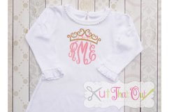 EXCLUSIVE Princess Crown Monogram Font Frame SVG & DXF Cut File Product Image 2