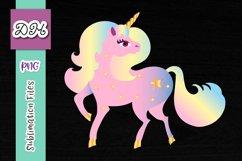 Rainbow Unicorn Clipart Sublimation Print File PNG Product Image 1