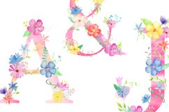 Watercolor floral alphabets, pink floral letters Product Image 3