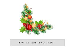 Christmas frame with fir branches, candy canes and garland Product Image 1