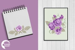 Purple roses, Wedding clipart, shabby chic, Purple Roses clipart, Bridal Shower, Flower Embellishments,lipart, graphics and illustrations AMB-1030 Product Image 4