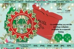 Layered Vintage Wreath SVG Christmas Card Decal 3D Cut File Product Image 5