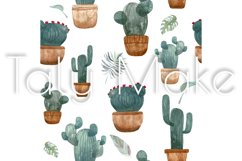 Seamless pattern of watercolor green cacti Product Image 3