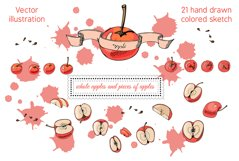 Collection with apple fruits illustration. Hand drawn sketch Product Image 3