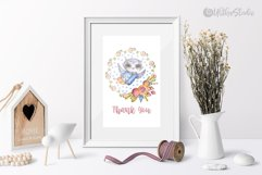 Cute owls clipart. Watercolor collection with floral forest Product Image 16