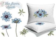 Pastel pink and blue flowers clipart, summer floral png Product Image 6