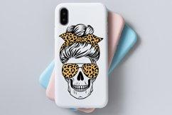 Skull mom life svg, messy bun, leopard, buffalo plaid Product Image 4