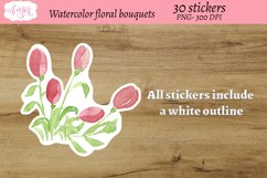 Watercolor floral bouquets stickers, print then cut sticker Product Image 5