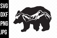 Bear Silhouette with Mountain Scenic- svg, png, dxf, jpg Product Image 1