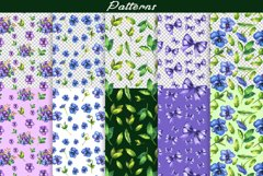 Watercolor pansy flower Product Image 4