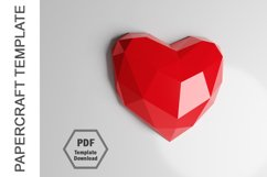 PDF Template of 3D Heart Papercraft Lowpoly Love Papercraft Product Image 2