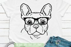 French Bulldog svg, Dog Face With Glasses svg, Cricut Files Product Image 1