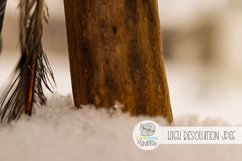 Feather and Wood In snow  Stock Photo  Background Photo Product Image 1