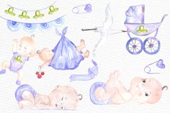 Watercolor boy baby shower clipart Product Image 2