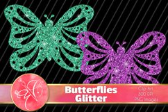 Glitter Butterflies Clip Art / 6 PNG Transparent Backgroun Product Image 1