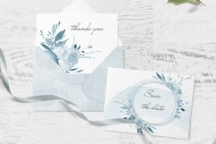 Pastel Watercolor Floral Clipart Blue for wedding invitation Product Image 2