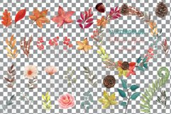 Fall leaves and flowers decor. Watercolor autumn wreath png Product Image 3