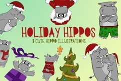Holiday Hippos|Hippo Christmas Illustrations|PNG files Product Image 1