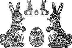 Easter Bunny svg Ornate Easter Egg Mandala Zentangle Rabbit Product Image 2