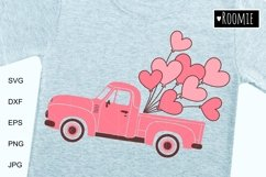 Valentine heart truck Svg, Retro car, i love you Shirt, Card Product Image 2