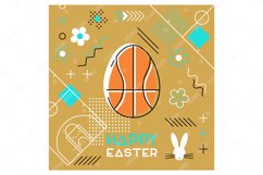 Easter sports greeting card. Memphis design. Basketball. Product Image 1