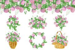 Watercolor wildflower clover. Wildflower clipart. St.Patrick Product Image 2