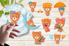 Cute cartoon baby bear clipart bundle. Eps, Png. Product Image 1