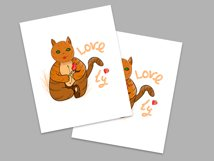 Festive cat with love heart and rose in its paws/clipart Product Image 2