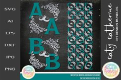 Two Initial Wedding Monogram With Rings Bundle SVG Cut File Product Image 1