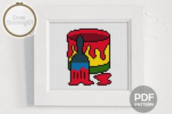 Brush n Bucket Cross Stitch Pattern - Instant Download PDF Product Image 1