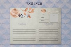 Brown Floral Recipe Card Template Product Image 2