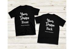 Front & Back Black Tshirt Mockup, Gildan 64000 Shirt Mock Up Product Image 1