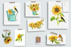 Sunflower Watercolor Clipart. Summer boho flower, bird Product Image 5