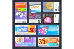 Discount voucher and cutting shopping coupons. Free sale tic Product Image 1