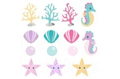 Mermaid Clipart and Digital Papers Set Product Image 3