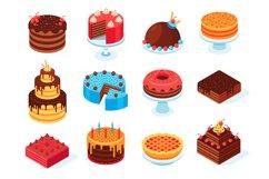 Isometric cakes. Chocolate cake slice, delicious sliced birt Product Image 1
