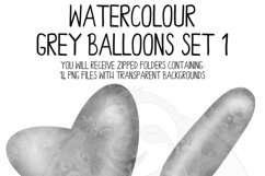Grey Watercolor Balloon Clipart Set Product Image 2