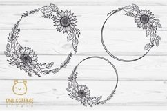 SUNFLOWERS BIG BUNDLE SVG, Floral borders and monograms Product Image 2