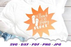 Beach Happy Place Sun Flip Flop Quote SVG DXF Cut Files Product Image 1