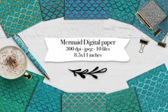 Mermaid scales on water texture - 10 digital papers Product Image 1