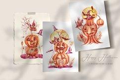3 watercolor Halloween pumpkin clipart. Halloween poster Product Image 3